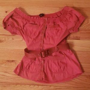 Bebe Belted Pink Reddish Top
